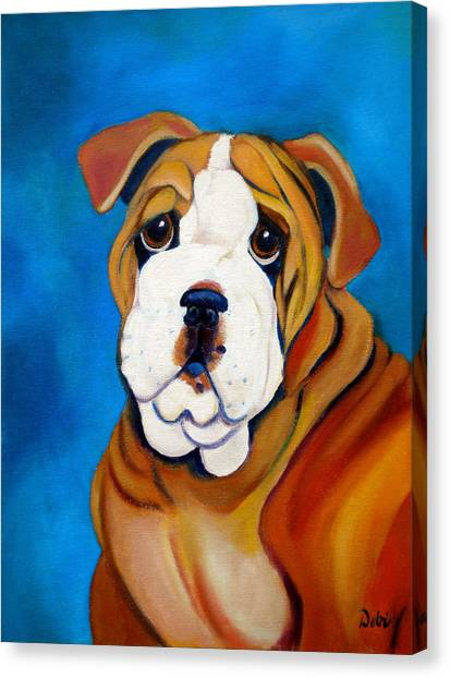 English Bull Dogs Canvas Print - Rocky by Debi Starr