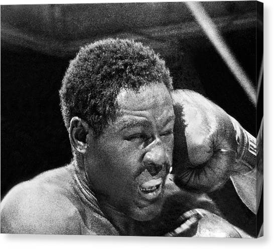 Knockout Canvas Print - Rocky Marciano Fist by Underwood Archives
