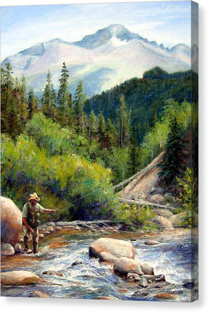 Fly Fishing Canvas Print - Rocky Mountain High by Mary Giacomini