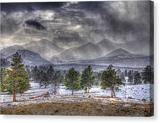 Rocky Mountain Snow Storm Estes Park Colorado Canvas Print