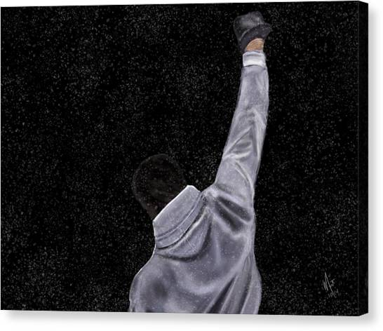 Stallone Canvas Print - Rocky Night Snow by Mathieu Lalonde