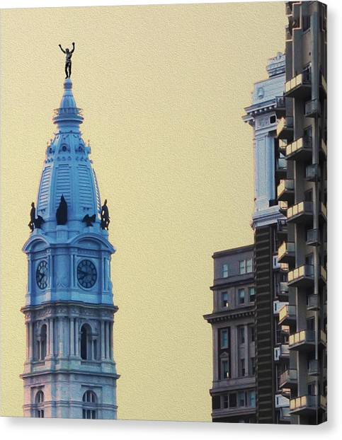 Sylvester Stallone Canvas Print - Rocky On Top Of City Hall by Bill Cannon
