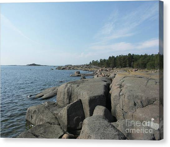 Rocky Seashore 2 In Hamina  Canvas Print
