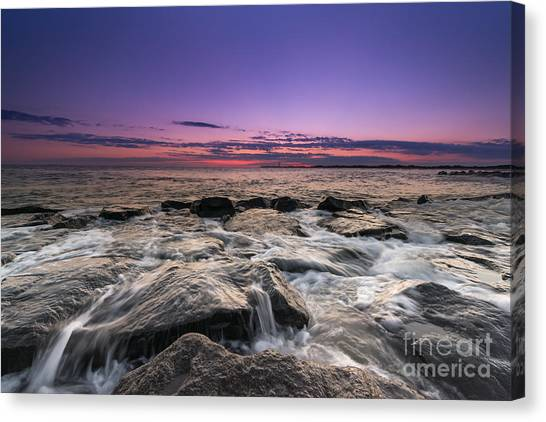 Southern Rock Canvas Print - Rocky Sunset At Cape May by Michael Ver Sprill