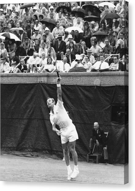 Tennis Racquet Canvas Print - Rod Laver Tennis Serve by Underwood Archives