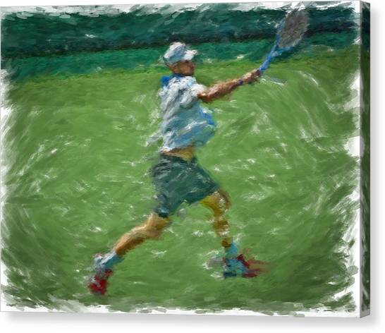 Andy Roddick Canvas Print - Roddick Return by Brian Menasco