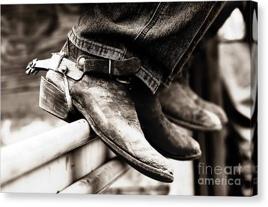 Rodeo Boots And Spurs In Black And White Canvas Print