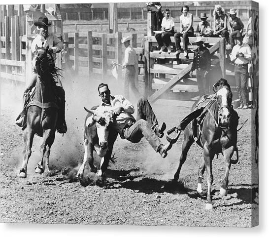 Bull Riding Canvas Print - Rodeo Cowboy Bulldogging by Underwood Archives