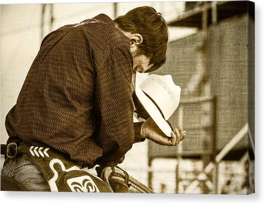 Rodeo Clown Canvas Print - Rodeo Cowboy Prayer by Steven Bateson