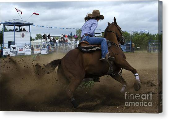 Barrel Racing Canvas Print - Rodeo Ladies Barrel Race 1 by Bob Christopher