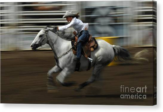 Barrel Racing Canvas Print - Rodeo Riding A Hurricane 1 by Bob Christopher