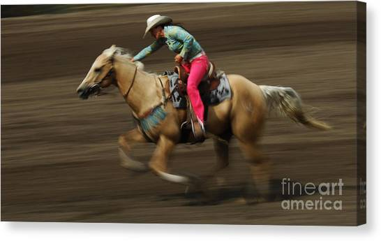 Barrel Racing Canvas Print - Rodeo Riding A Hurricane 2 by Bob Christopher