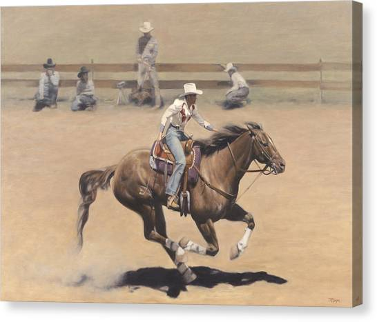 Barrel Racing Canvas Print - Rodeo by Terry Guyer