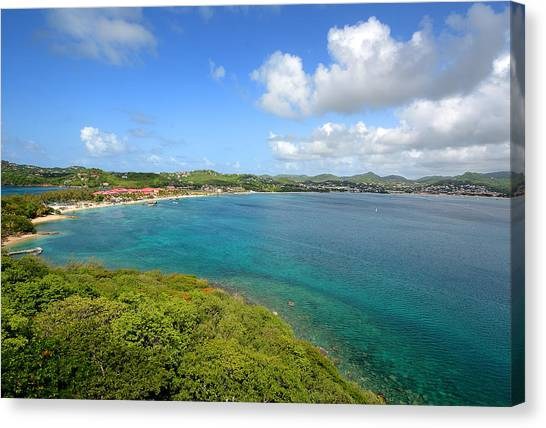 Rodney Bay Viewed From Fort Rodney - St. Lucia Canvas Print by Brendan Reals