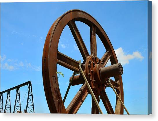 Precisionism Canvas Print - Roebling Factory Craneway And Flywheel by Steven Richman