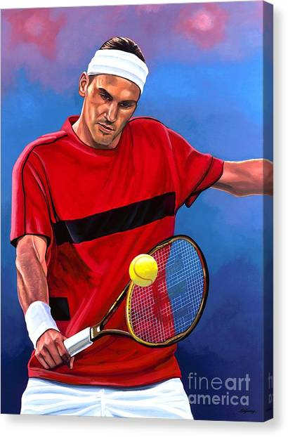 Tennis Players Canvas Print - Roger Federer The Swiss Maestro by Paul Meijering