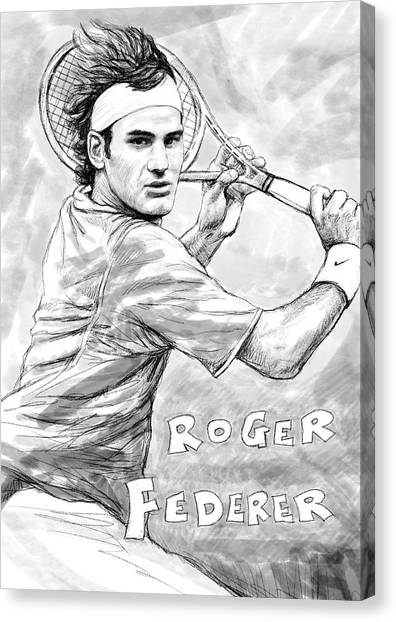 Tennis Players Canvas Print - Roger Federer Art Drawing Sketch Portrait by Kim Wang