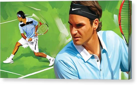 Tennis Pros Canvas Print - Roger Federer Artwork by Sheraz A