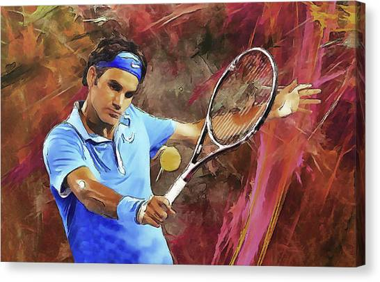 Arte Canvas Print - Roger Federer Backhand Art by RochVanh