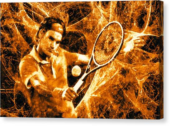 Roger Federer Canvas Print - Roger Federer Clay by RochVanh