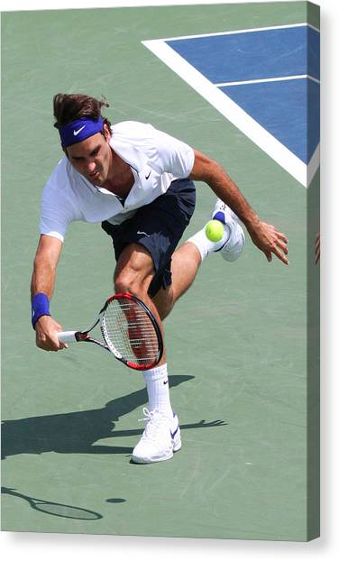 Tennis Pros Canvas Print - Roger Federer  by James Marvin Phelps
