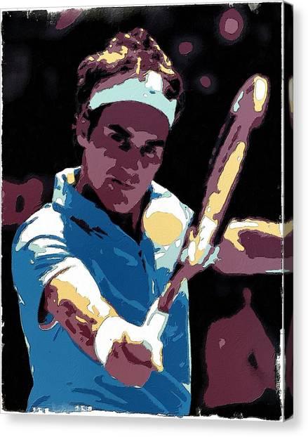 Roger Federer Canvas Print - Roger Federer Portrait Art by Florian Rodarte