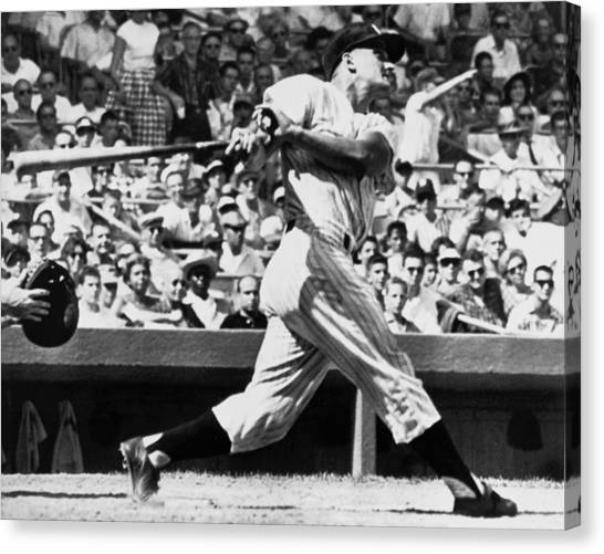 Yankee Stadium Canvas Print - Roger Maris Hits 52nd Home Run by Underwood Archives