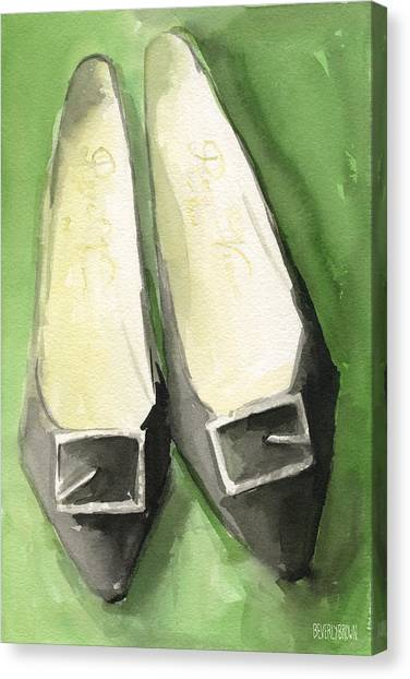 Roger Canvas Print - Roger Vivier Black Buckle Shoes Fashion Illustration Art Print by Beverly Brown Prints