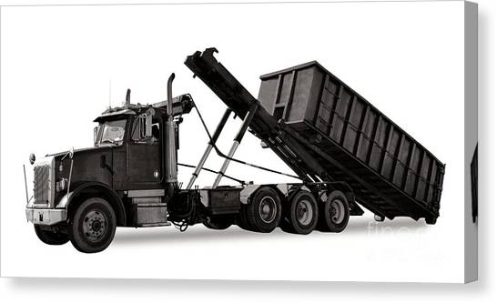 Dump Trucks Canvas Print - Roll Off Truck  by Olivier Le Queinec