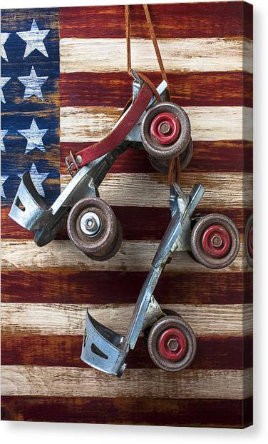 Roller Skating Canvas Print - Rollar Skates With Wooden Flag by Garry Gay