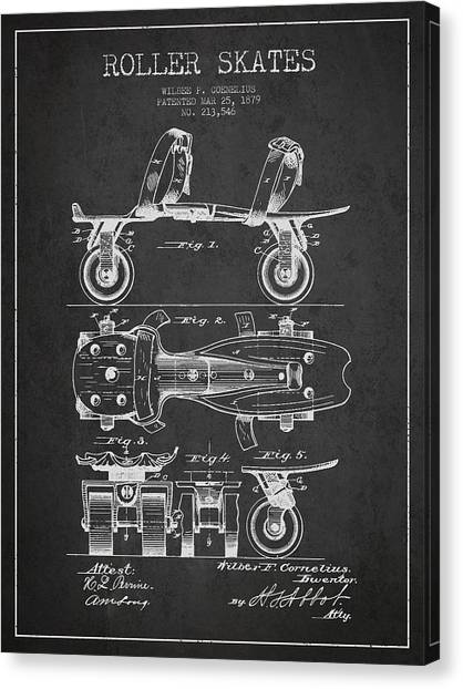 Rollerblading Canvas Print - Roller Skate Patent Drawing From 1879 - Dark by Aged Pixel