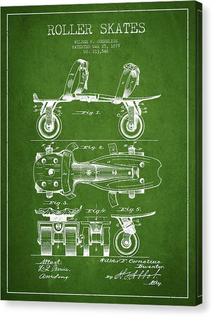 Roller Skating Canvas Print - Roller Skate Patent Drawing From 1879 - Green by Aged Pixel