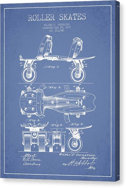 Roller Skating Canvas Print - Roller Skate Patent Drawing From 1879 - Light Blue by Aged Pixel