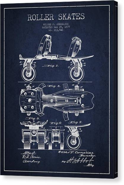 Roller Skating Canvas Print - Roller Skate Patent Drawing From 1879 - Navy Blue by Aged Pixel