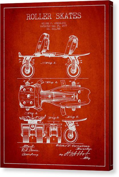 Rollerblading Canvas Print - Roller Skate Patent Drawing From 1879 - Red by Aged Pixel