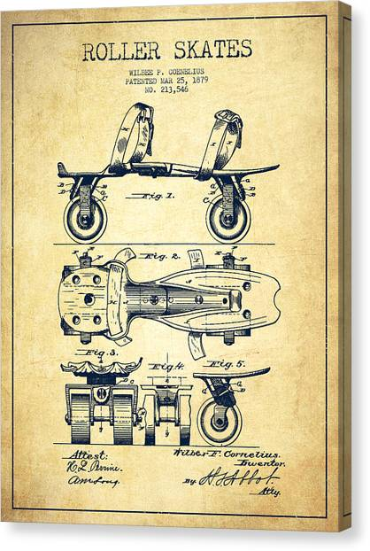 Rollerblading Canvas Print - Roller Skate Patent Drawing From 1879 - Vintage by Aged Pixel