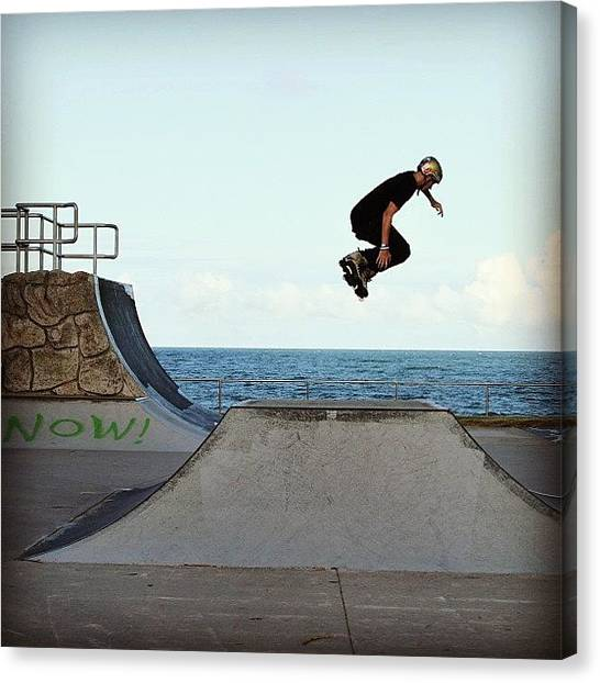Rollerblading Canvas Print - Rollerblader At Alexandra Headland by Lana Houlihan