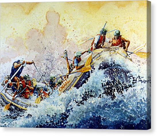 Water Sports Art Canvas Print - Rollin' Down The River by Hanne Lore Koehler