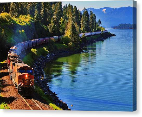 Trains Canvas Print - Rollin' Round The Bend by Benjamin Yeager
