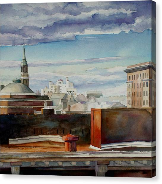 Virginia Commonwealth University Vcu Canvas Print - Rolling Clouds Over The Fan  by Jim Smither
