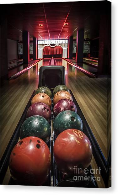 Bowling Ball Canvas Print - Rolling Joy by Evelina Kremsdorf