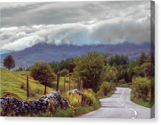 Canvas Print featuring the photograph Rolling Storm Clouds Down Cumbrian Hills by Menega Sabidussi