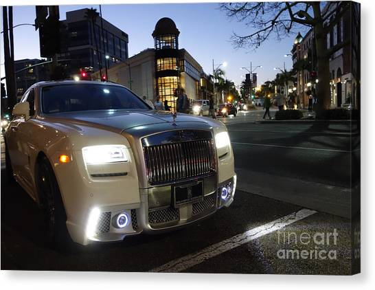 Rolls Royce Parked At The Bottom Of Rodeo Drive Canvas Print