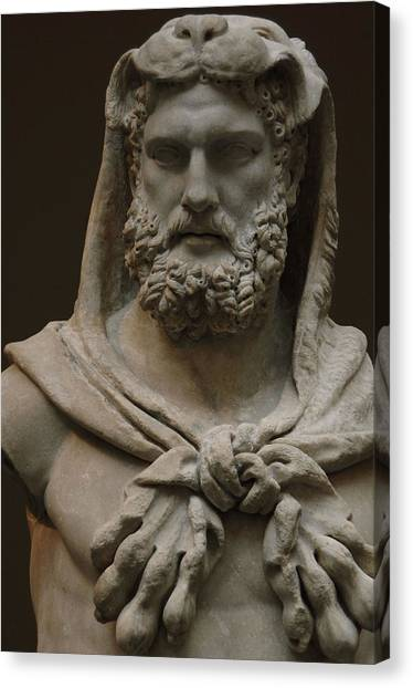 The Metropolitan Museum Of Art Canvas Print - Roman Art. Marble Statue Of A Bearded Hercules Covered With Lions Skin. Early Imperial, Flavian by Bridgeman Images
