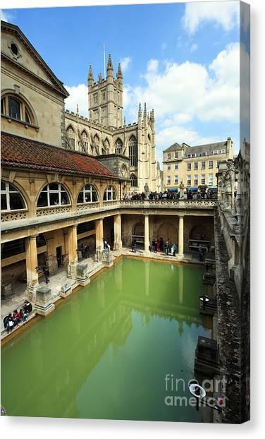 Roman Bath And Bath Abbey Canvas Print