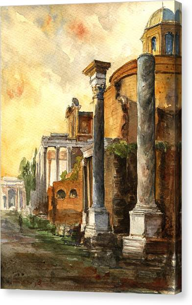 Ancient Art Canvas Print - Roman Forum by Juan  Bosco