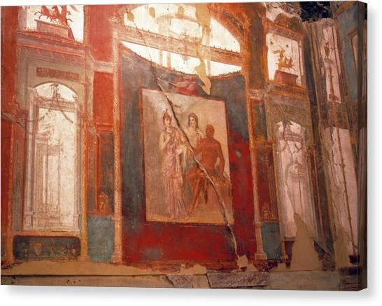 Mount Vesuvius Canvas Print - Roman Fresco by Tony Craddock/science Photo Library