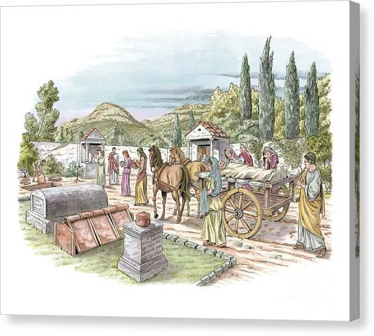 Undertaker Canvas Print - Roman Funeral Procession, Artwork by Luis Montanya/marta Montanya/sciencephotolibrary