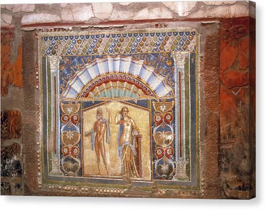 Mount Vesuvius Canvas Print - Roman Mosaic by Tony Craddock/science Photo Library