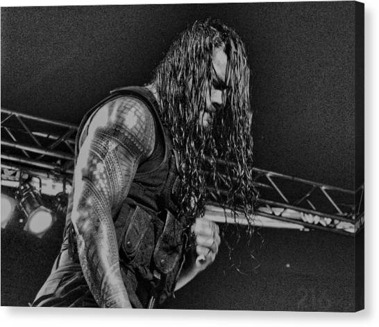 Wwe Canvas Print - Roman Reigns Charcoal By Gbs by Anibal Diaz